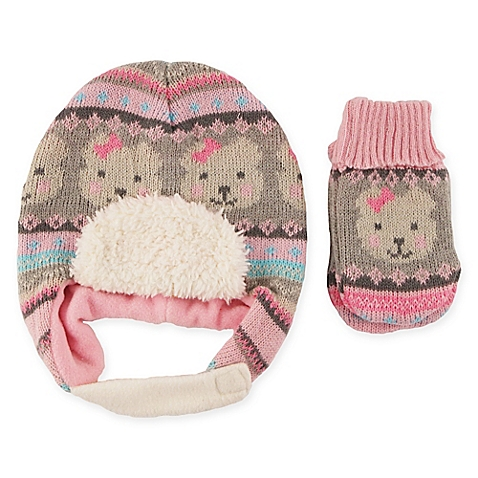 Rising Star Newborn Bear Hat and Mitten Set - best baby trapper hats